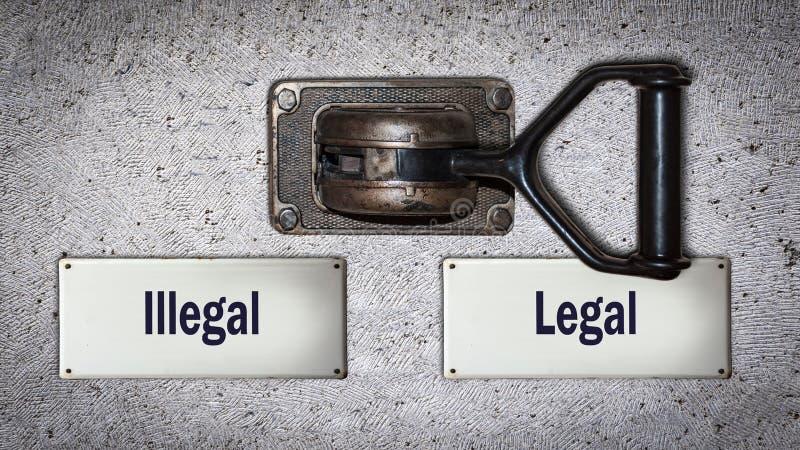 Lagligt kontra olagligt för väggströmbrytare royaltyfria foton