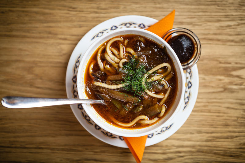 Lagman soup with meat stock image