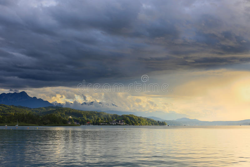 Lago Áustria Worthersee foto de stock royalty free