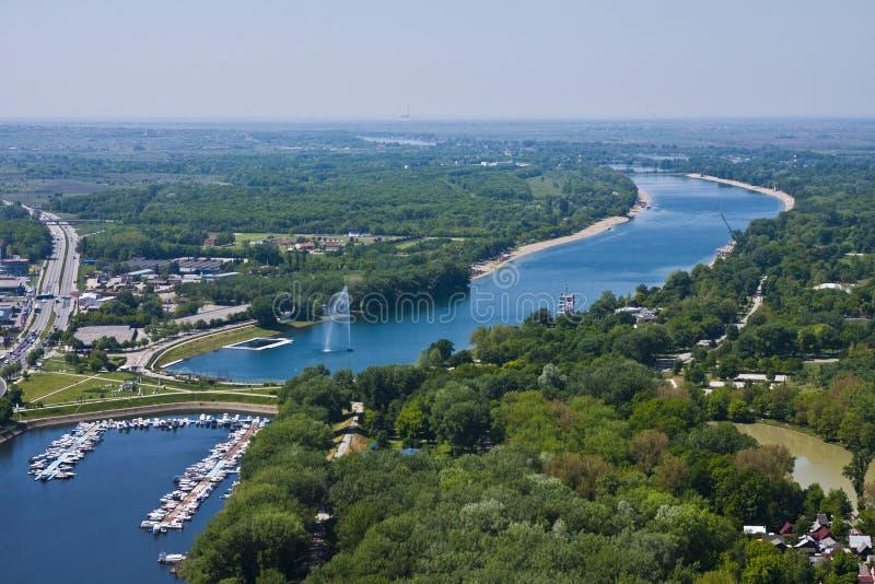 Lago Ada en Belgrado imagenes de archivo