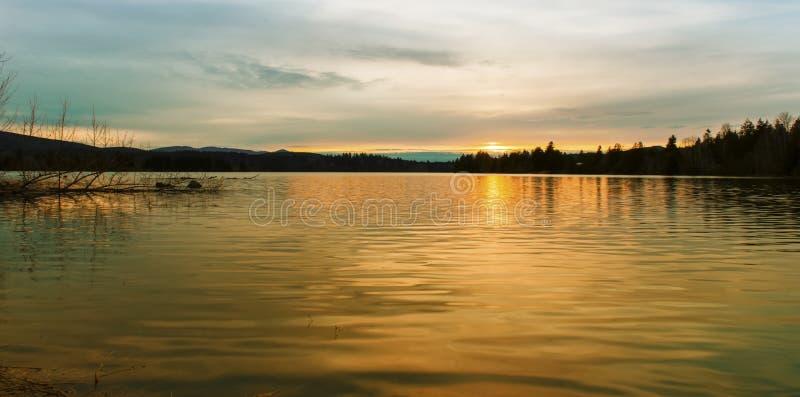 Lago alder no por do sol. imagem de stock