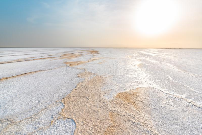 Lago ale dell'asino, nella depressione di Danakil fotografie stock