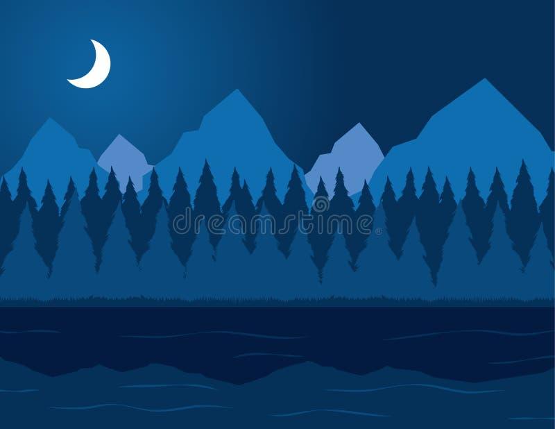 Lago alla notte royalty illustrazione gratis