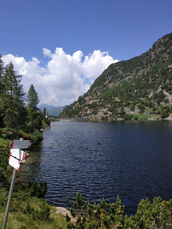 Lago alpino con las muestras imagen de archivo