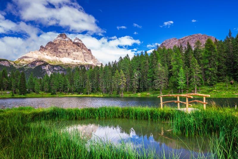 Lago Antorno i Tre Cime Di Lavaredo w dolomitach, Włochy zdjęcia stock