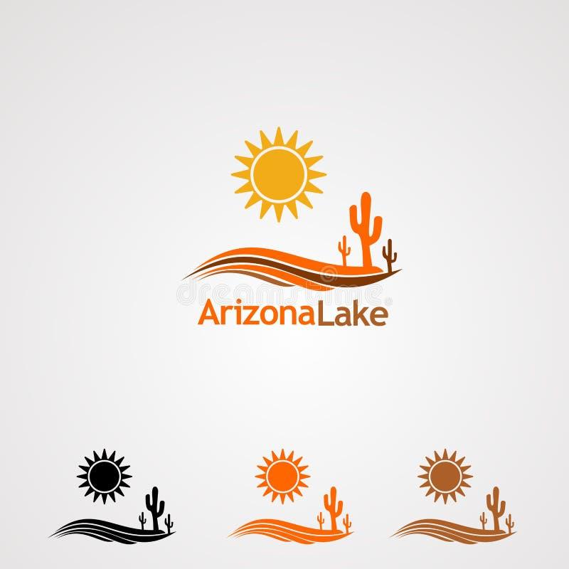 Lago arizona con il vettore, l'icona, l'elemento ed il modello di logo del cactus dell'albero di Dan del sole per la società fotografia stock