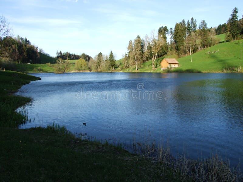 Lago artificial pequeno Wenigerweier imagem de stock