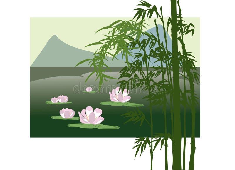 Lago asiático con el lirio de agua stock de ilustración