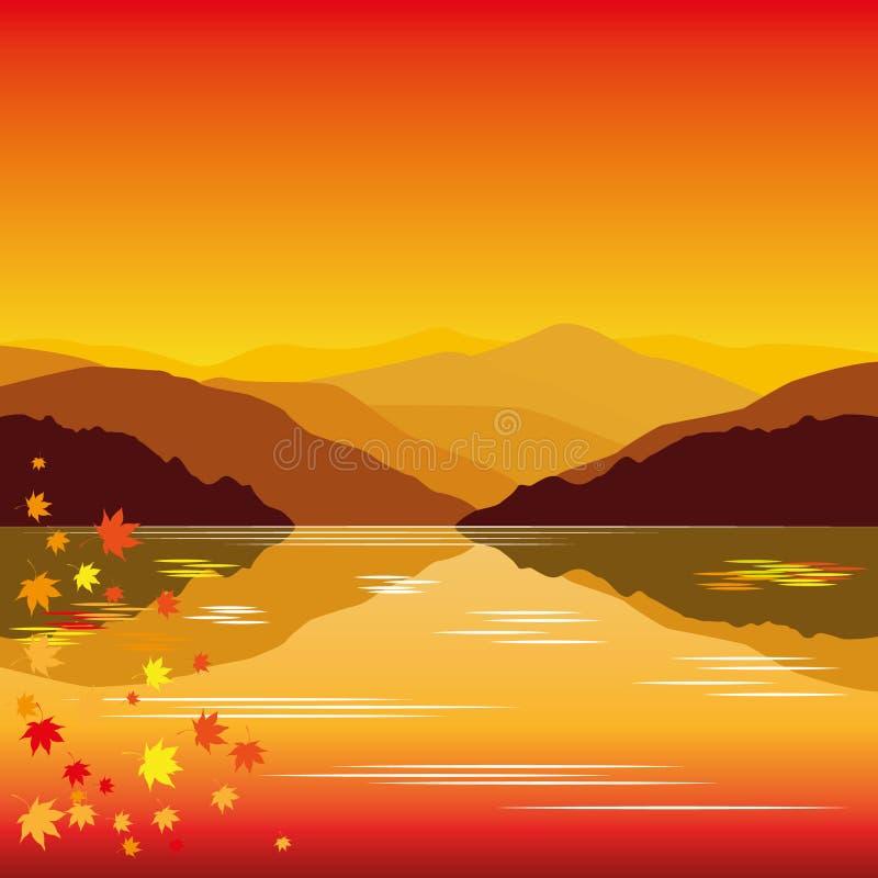 Lago autumn   ilustração stock