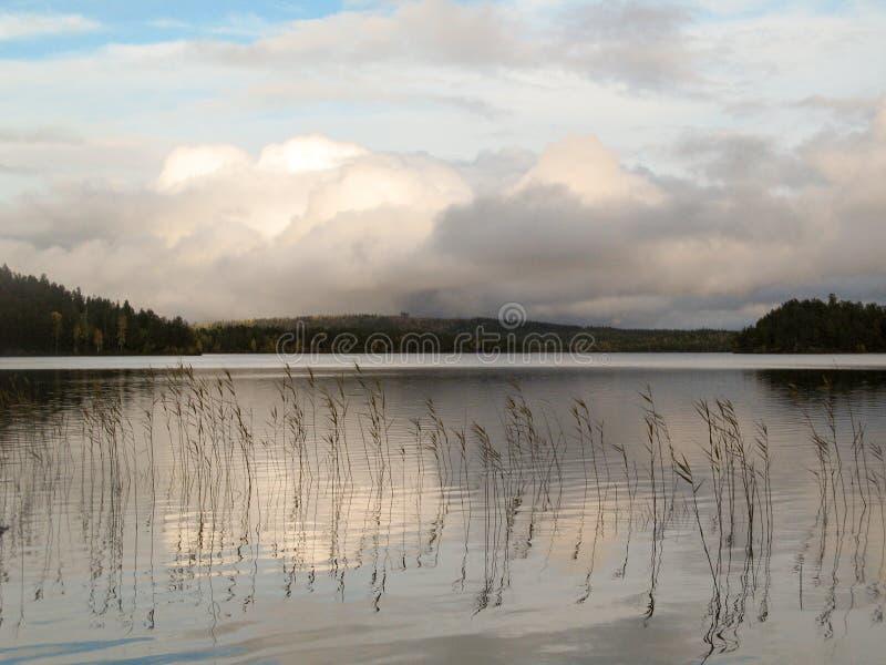 Lago in autunno della Carelia, settembre immagine stock