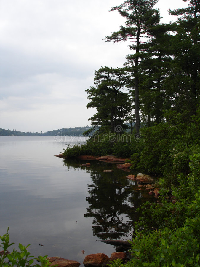 Lago Awosting, giorno piovoso fotografie stock