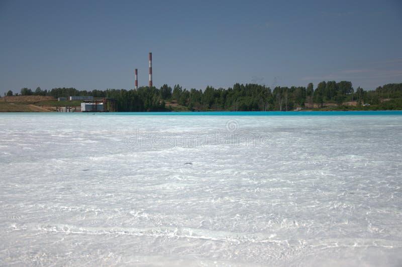 Lago azul cercado pela floresta conífera, as tubulações da planta no fundo imagem de stock