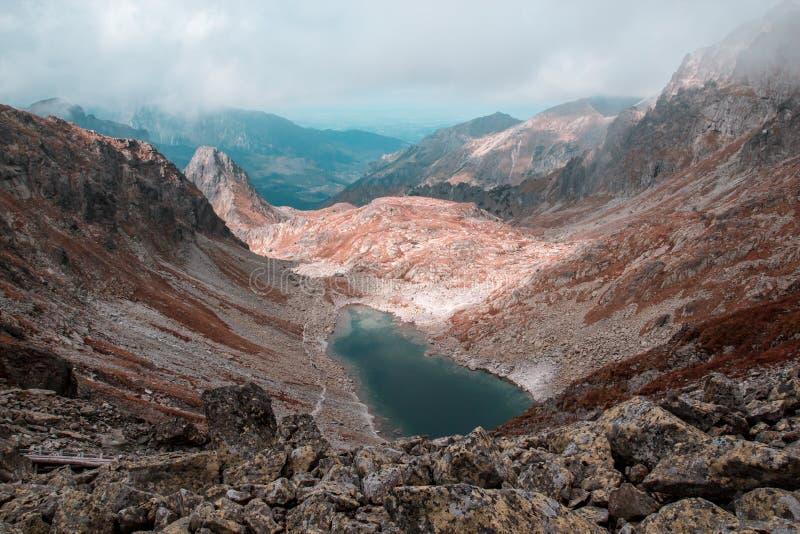 Lago azul hermoso rodeado por las altas montañas foto de archivo libre de regalías