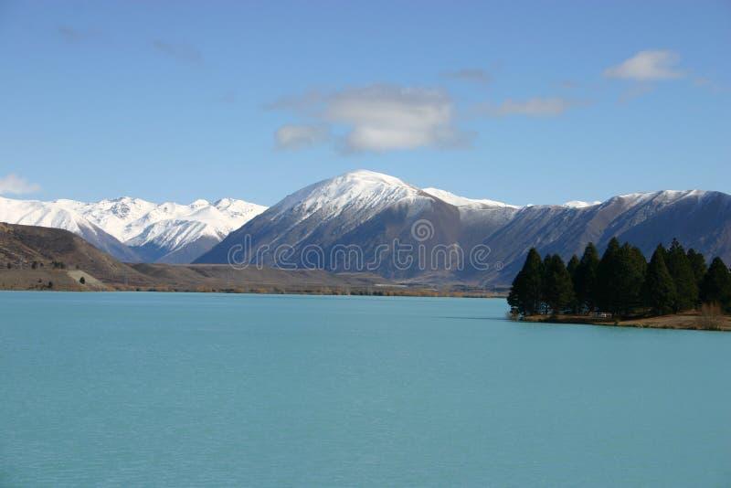 Lago azul Pukaki imagens de stock