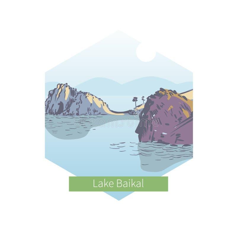 Lago Baikal Curandeiro Rock Ilustração do vetor ilustração do vetor