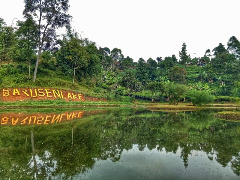 Lago Barusen in Ciwidey in Indonesia immagini stock