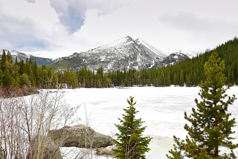 Lago bear in montagne rocciose fotografia stock libera da diritti