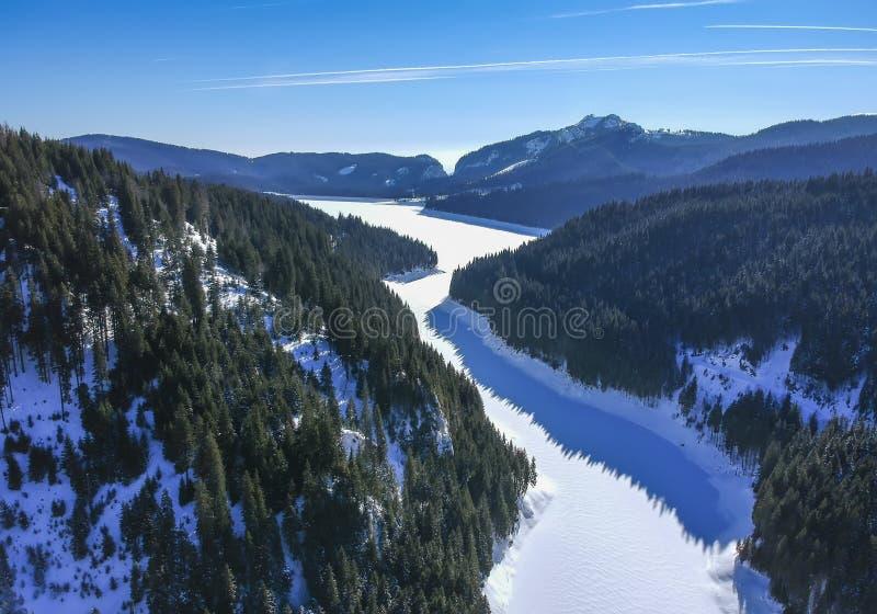 Lago Bolboci, montanhas Carpathian, Romênia, vista aérea fotografia de stock royalty free