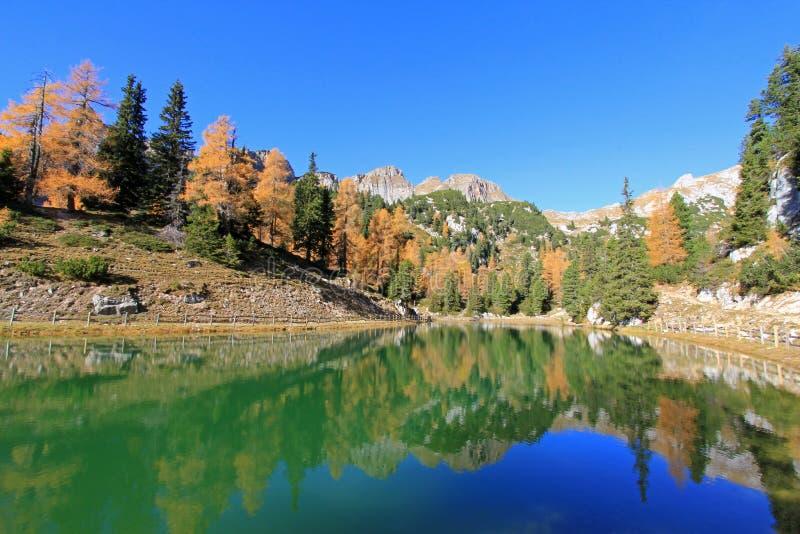 Lago bonito durante a estação do outono em Áustria imagem de stock
