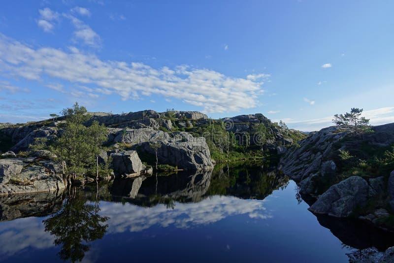 Lago bonito na maneira ao Preikestolen imagem de stock royalty free