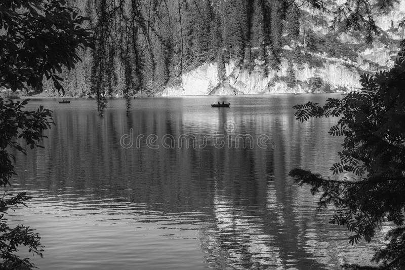 Lago Braies fotografia de stock