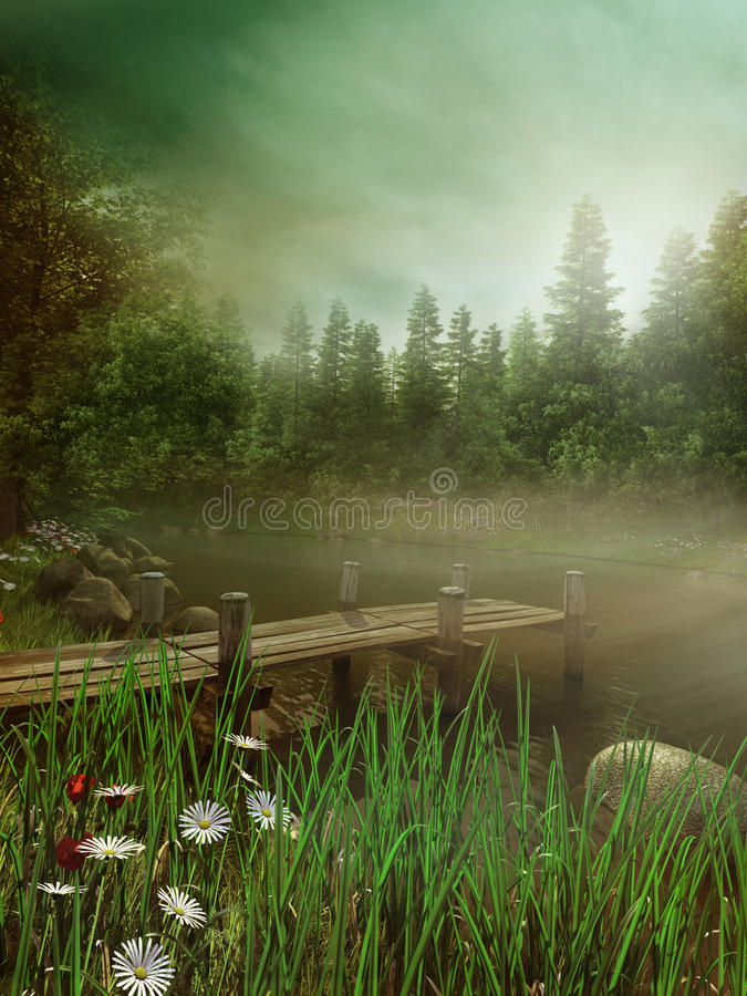 Lago brumoso con el embarcadero stock de ilustración