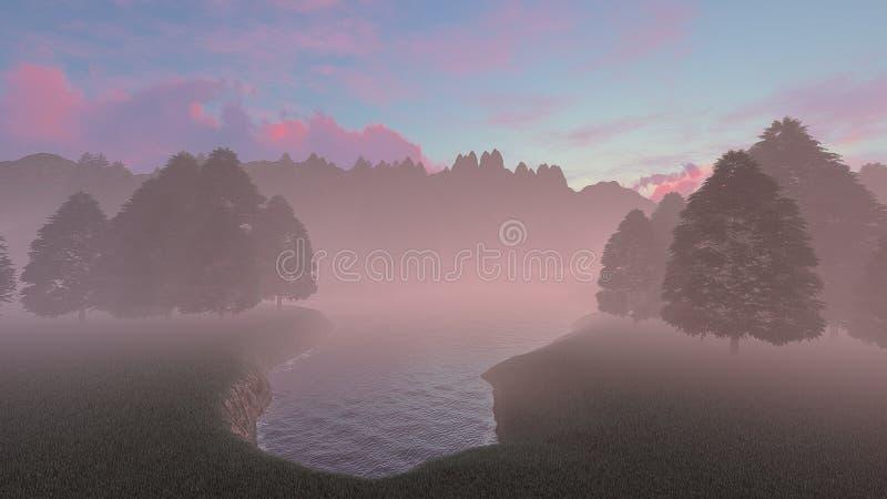Lago brumoso o de niebla por la mañana ilustración del vector
