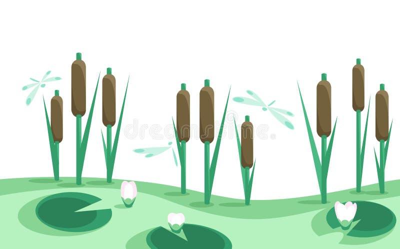 Lago, cañas, lirios en frontera inconsútil horizontal   ilustración del vector