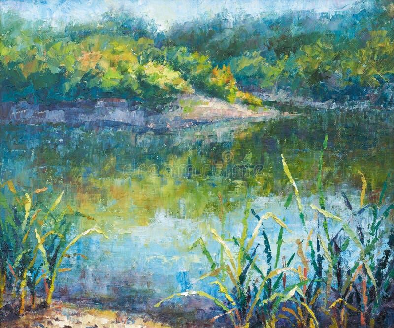 Lago calmo di autunno illustrazione vettoriale
