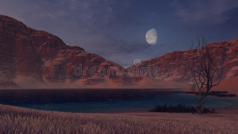 Lago canyon e árvore inoperante sob a meia lua ilustração stock