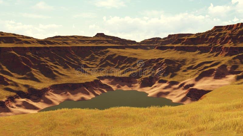 Lago canyon na distância ilustração stock