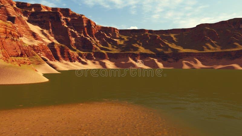 Lago canyon no tempo da noite ilustração stock