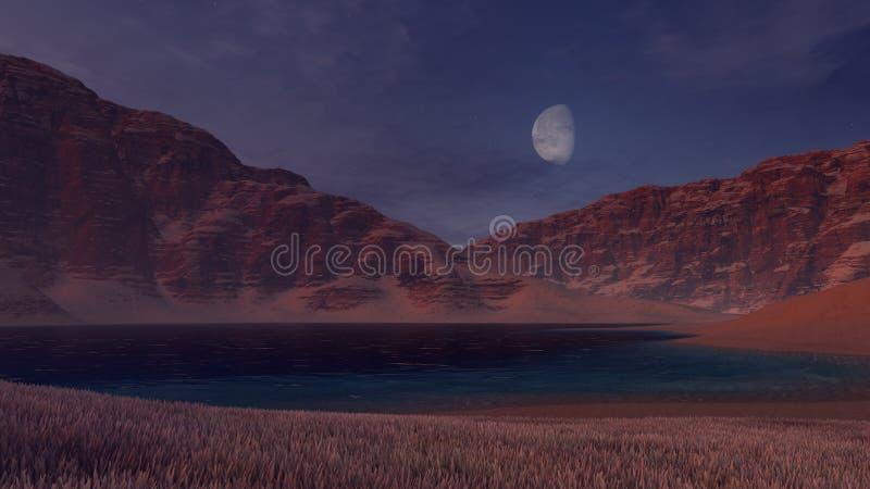 Lago canyon sob a meia lua ilustração do vetor