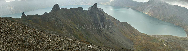 Lago Chon de Mount Paektu, Coreia do Norte imagens de stock