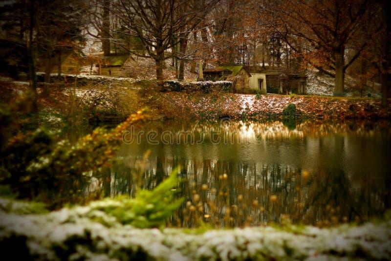 Lago christmas do conto de fadas fotografia de stock