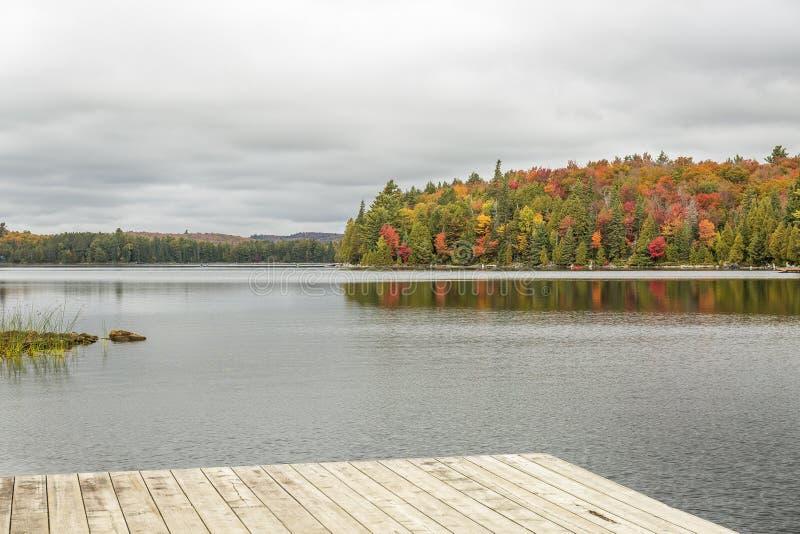 Lago com cores da queda e doca no primeiro plano - PR do Algonquin imagem de stock royalty free