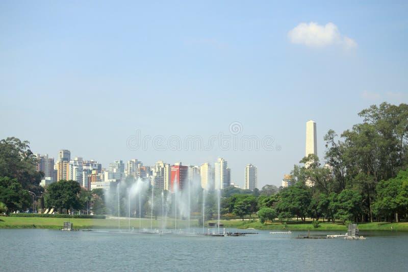 Lago com muitos fountaints no parque do Sao Paolo imagem de stock royalty free