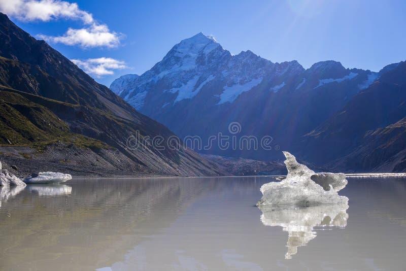 Lago com os iceberg de flutuação gigantes, montagem C glacier de Tasman de Aoraki imagem de stock royalty free