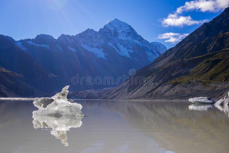 Lago com os iceberg de flutuação gigantes, montagem C glacier de Tasman de Aoraki imagens de stock