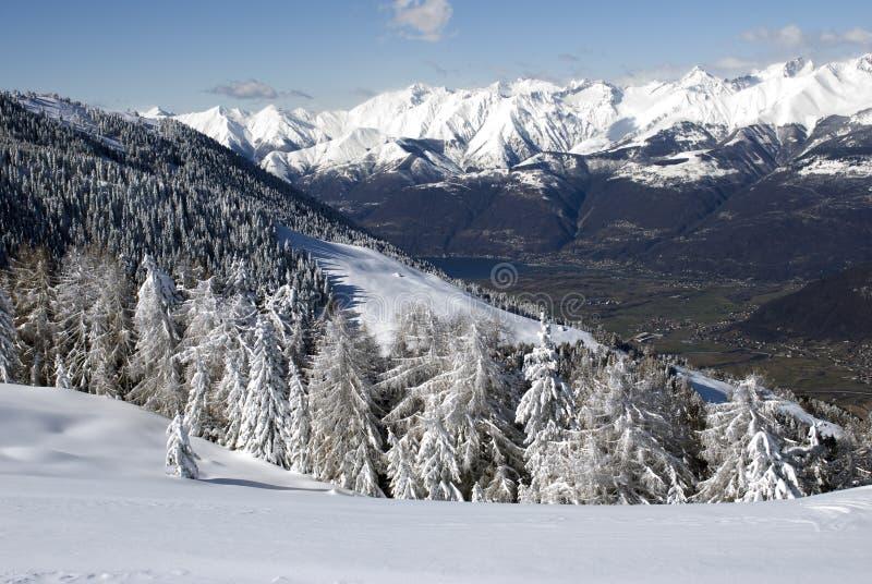 Lago Como da paisagem do inverno fotografia de stock royalty free