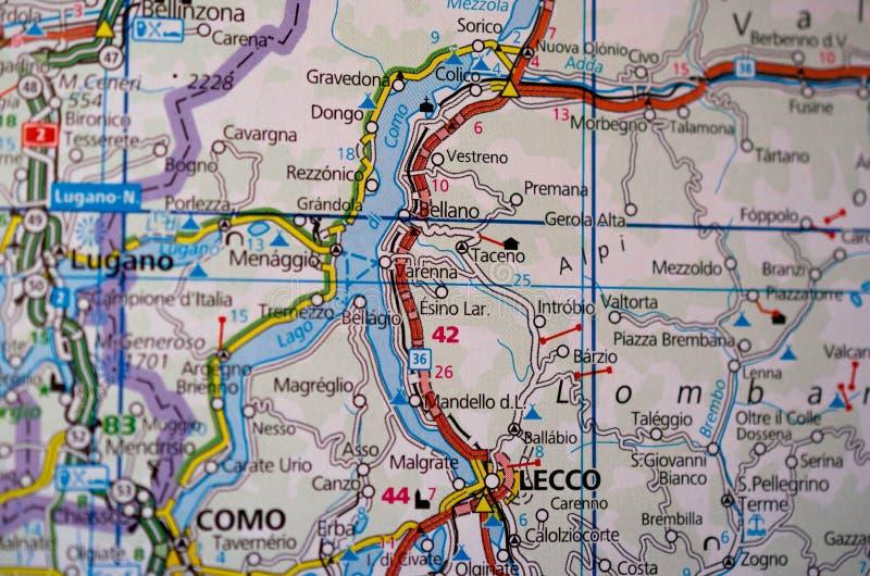 Lago Como en mapa fotos de archivo