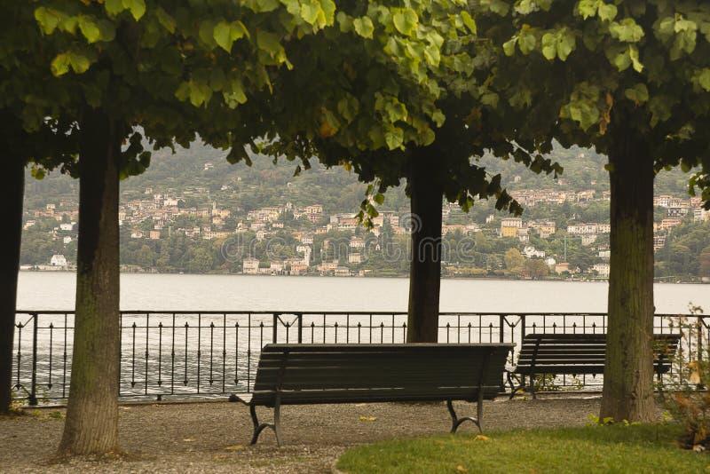 Lago Como Italia Cernobbio de la 'promenade' foto de archivo libre de regalías