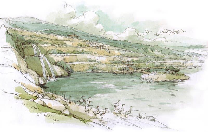 Lago con birds-2 royalty illustrazione gratis