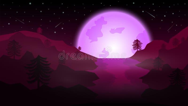 Lago con la Luna Llena púrpura; el pino crece en la montaña; noche hermosa libre illustration