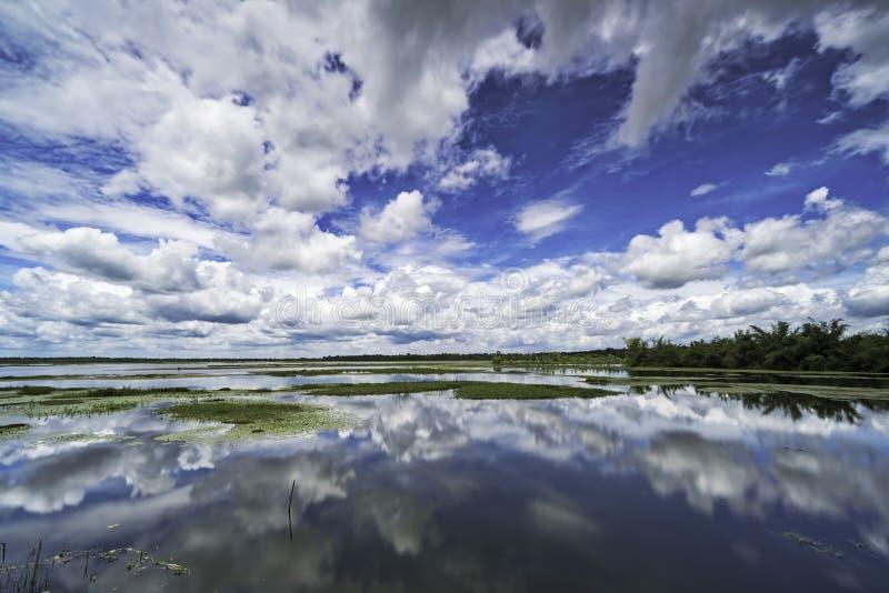 Lago con la reflexión de las nubes de cúmulo, paisaje con las nubes hermosas dramáticas imagen de archivo