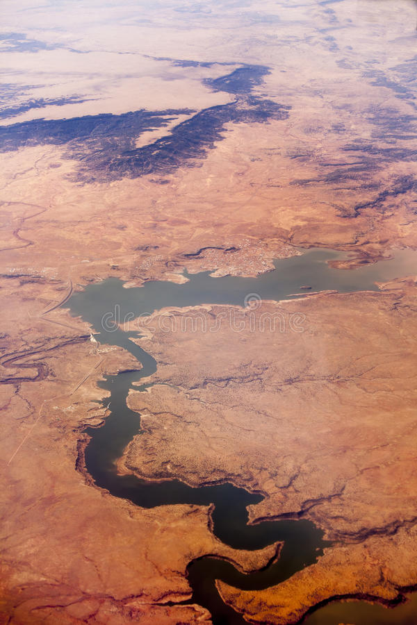 Lago Conchas, New México, tiro aéreo foto de archivo