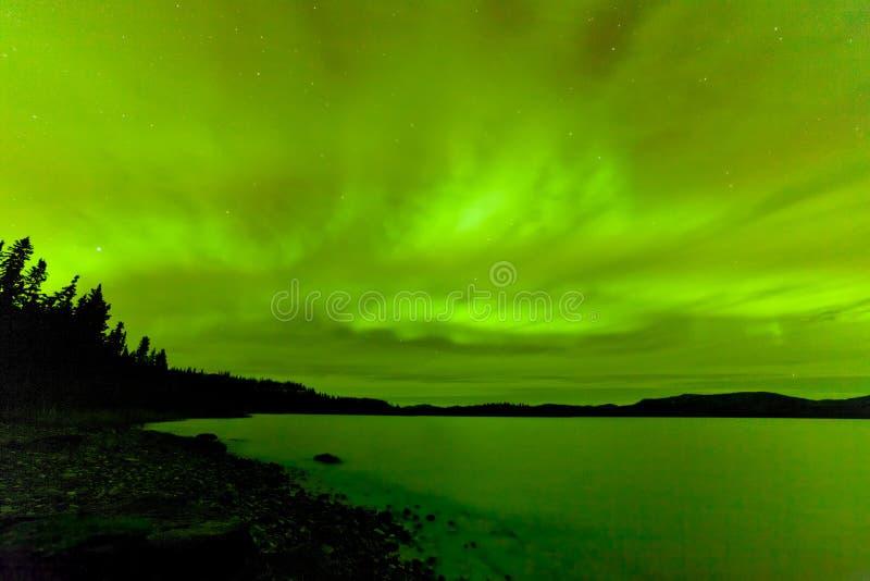 Lago congelado céu Laberge Yukon northern lights foto de stock royalty free