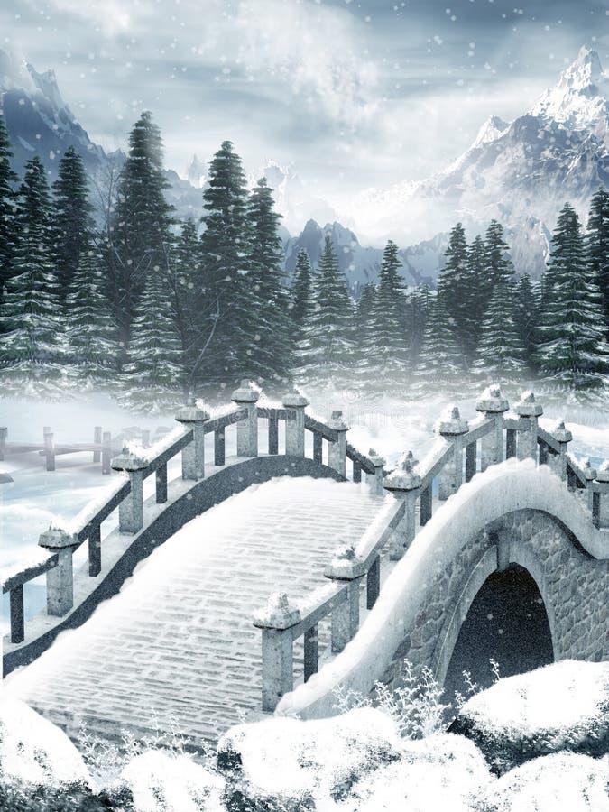 Download Lago Congelado Com Uma Ponte Ilustração Stock - Ilustração de paisagem, montanha: 16871068
