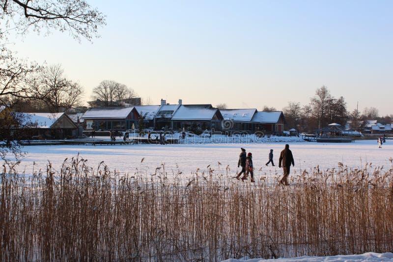 Lago congelado por el castillo de la isla de Trakai foto de archivo libre de regalías