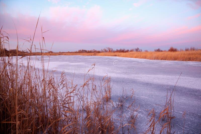 Lago congelato al tramonto fotografia stock